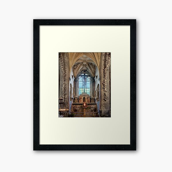 Sedlec Ossuary Altar Photo Art, Skull Bone Church Framed Art Print