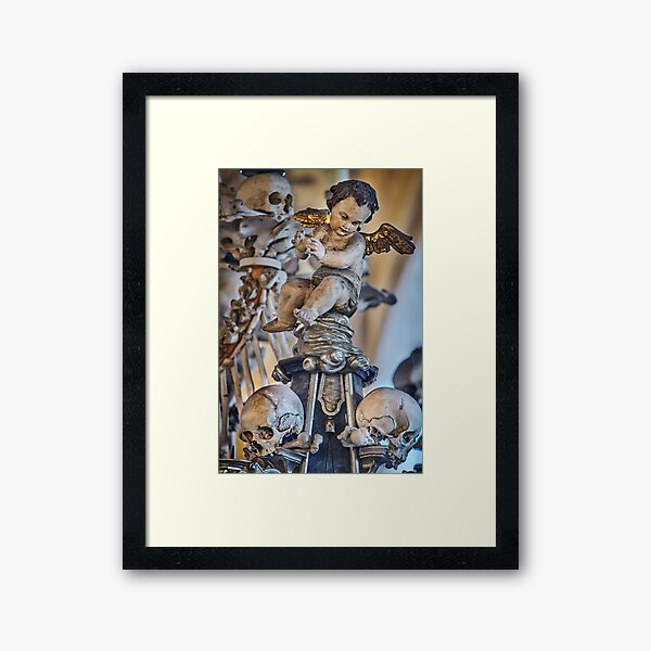 Sedlec Ossuary Cherub Photo Art, Skull Bone Church Framed Art Print