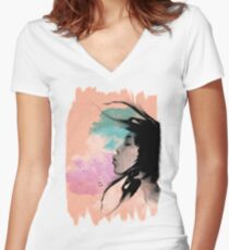 Psychedelic Blow Japanese Girl Dream Women's Fitted V-Neck T-Shirt