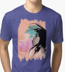 Psychedelic Blow Japanese Girl Dream Tri-blend T-Shirt