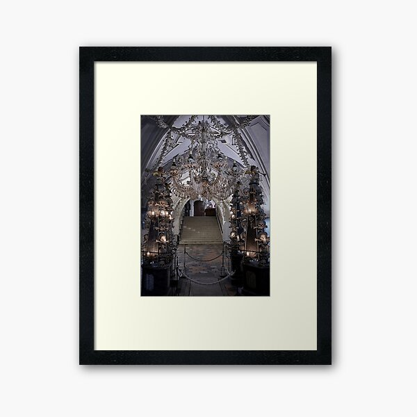 Sedlec Ossuary Interior Photo Art, Skull Bone Church Framed Art Print