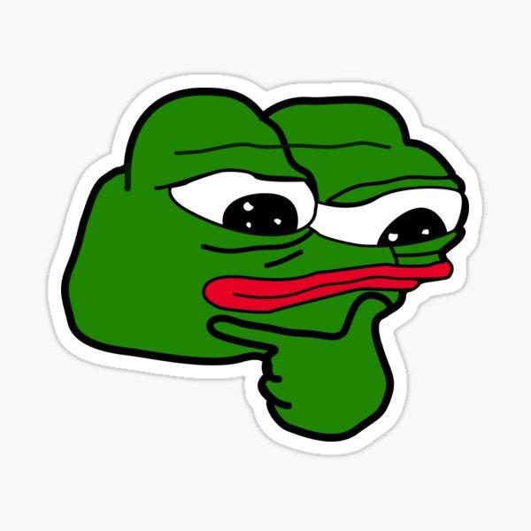 Emoji de pensamiento de Pepe raro Pegatina