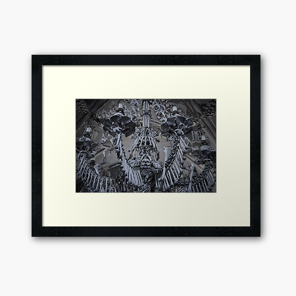 Sedlec Ossuary Chandelier Photo Art, Skull Bone Church Framed Art Print