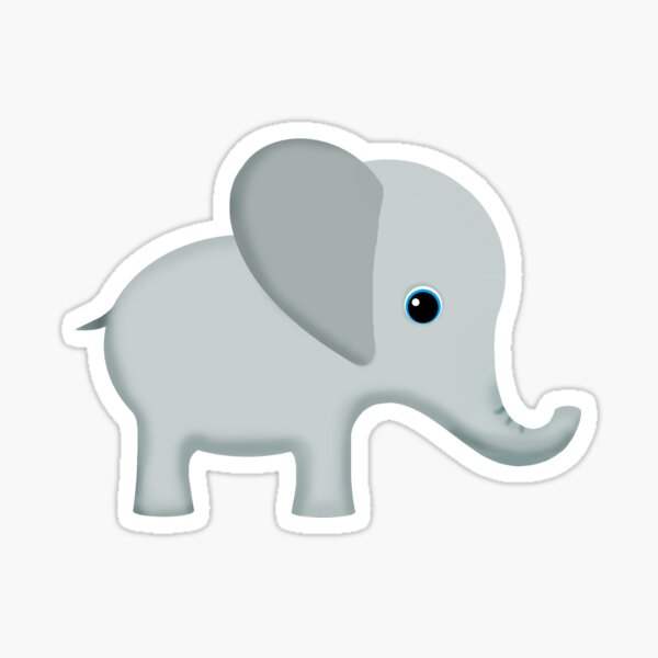 Cute Gray Baby Elephant Sticker