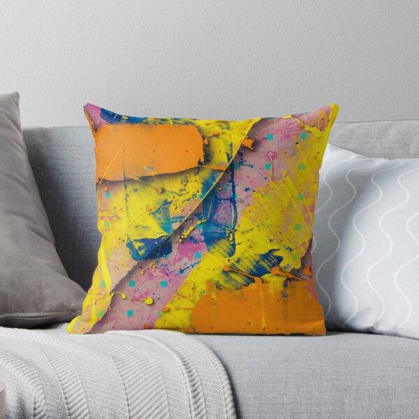Yellow Slides / Negative Z by Larry Hefner Throw Pillow