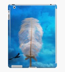 white feather and bird flying iPad Case/Skin