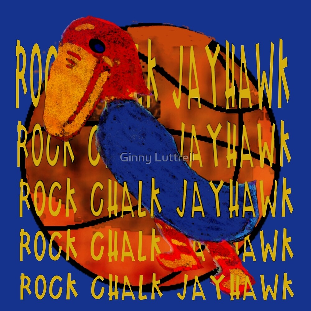 Rock Chalk Jayhawk Basketball by Ginny Luttrell
