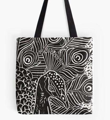Peacock Linocut in Black Tote Bag