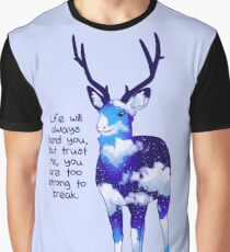 """You Are Too Strong to Break"" Night Sky Deer Graphic T-Shirt"