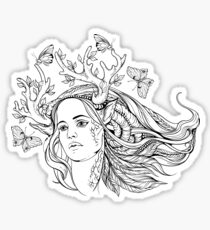 portrait of a woman with animal horns and butterflies. black and white Sticker
