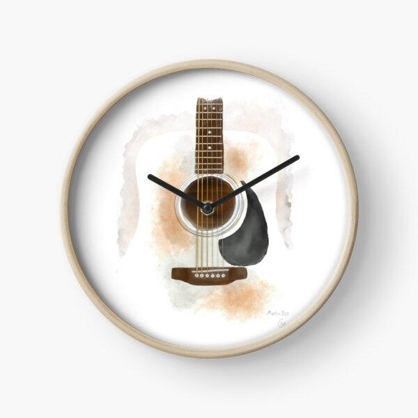 Martin D-28 Acoustic Guitar   Watercolor Illustration Clock