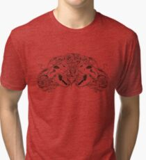 image of two simmetric skulls with roses and diamond Tri-blend T-Shirt