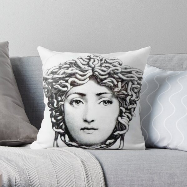 Fornasetti Design Curls Throw Pillow