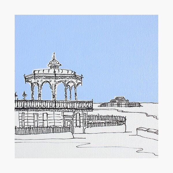 Brighton Bandstand & Pier ( Pale Blue ) Photographic Print