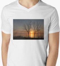 Three Trees and the Sun Mens V-Neck T-Shirt