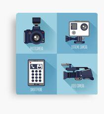 Modern Technologies. Professional Photo and Video Camera, Extreme Camera and Smart Phone.  Canvas Print