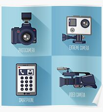 Modern Technologies. Professional Photo and Video Camera, Extreme Camera and Smart Phone.  Poster