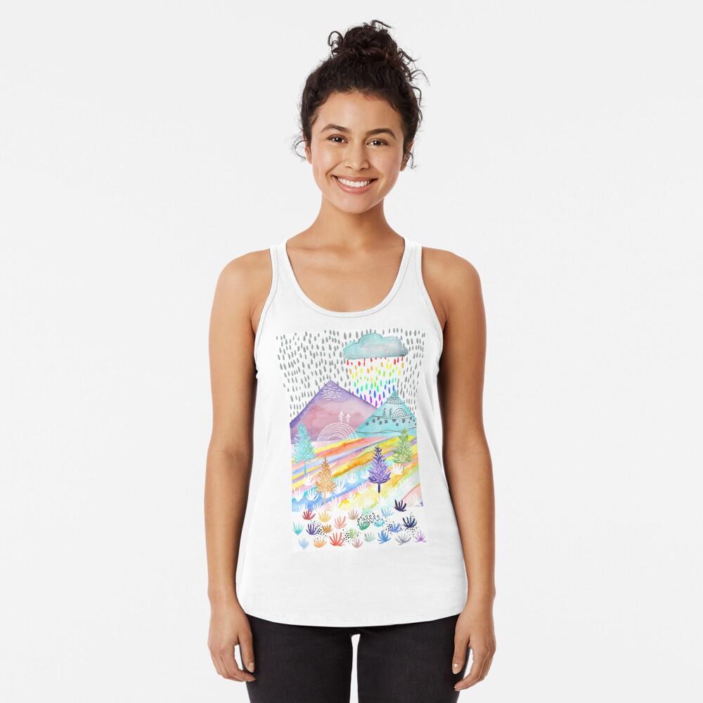 Paisaje de acuarela Camiseta con espalda nadadora