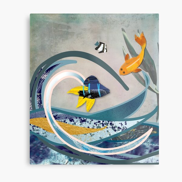 Art Deco style seascape art - underwater ocean with koi carp and damsel fish Metal Print