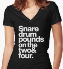 Prince - Snare Drums Pound on the Two & Four Women's Fitted V-Neck T-Shirt