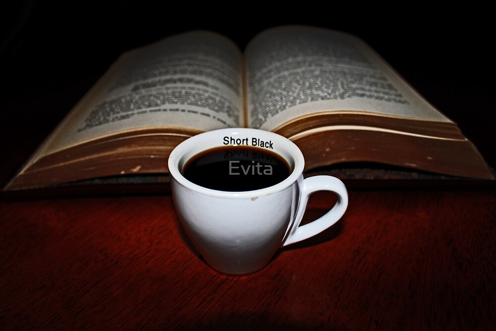Short Black  and a Book by Evita