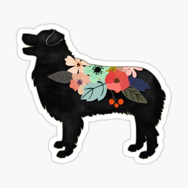 Australian Shepherd Dog Breed Bohemian Floral Silhouette Sticker