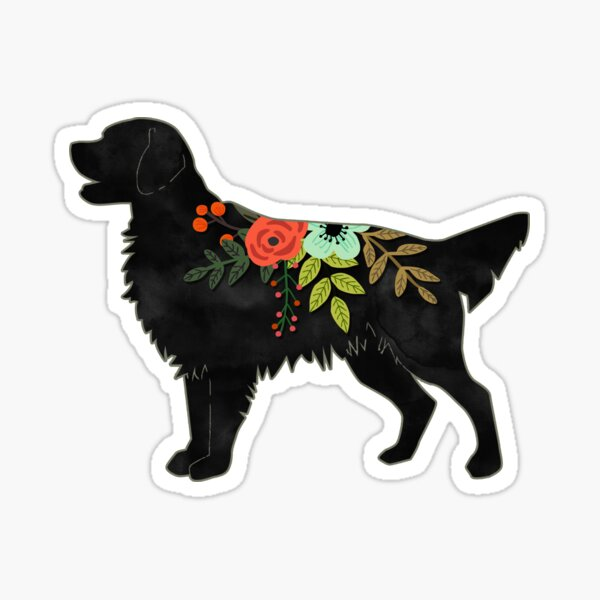 Flat Coated Retriever Dog Breed Bohemian Floral Silhouette Sticker