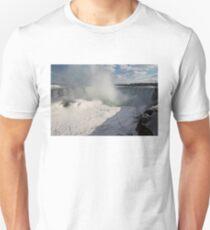 Niagara Falls Ice Buildup Panorama - Canadian Horseshoe Falls, Ontario, Canada T-Shirt