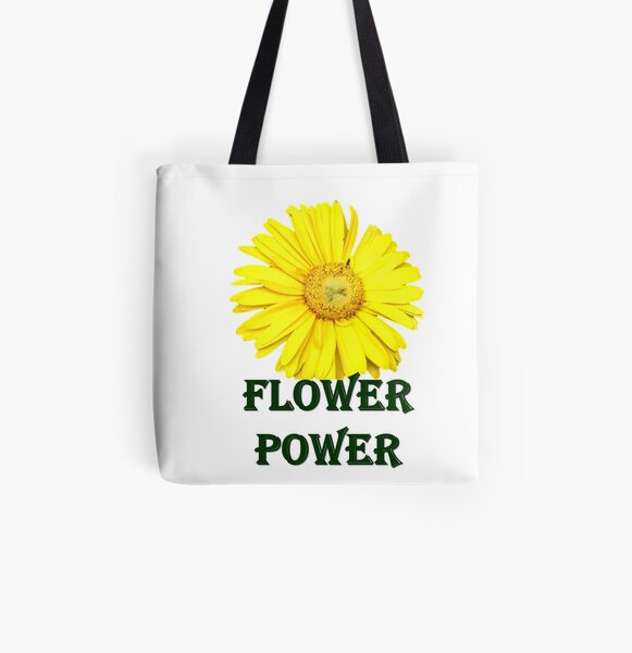 Flower Power Yellow Daisy All Over Print Tote Bag