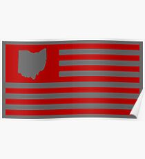 State of Ohio - American Flag  Poster