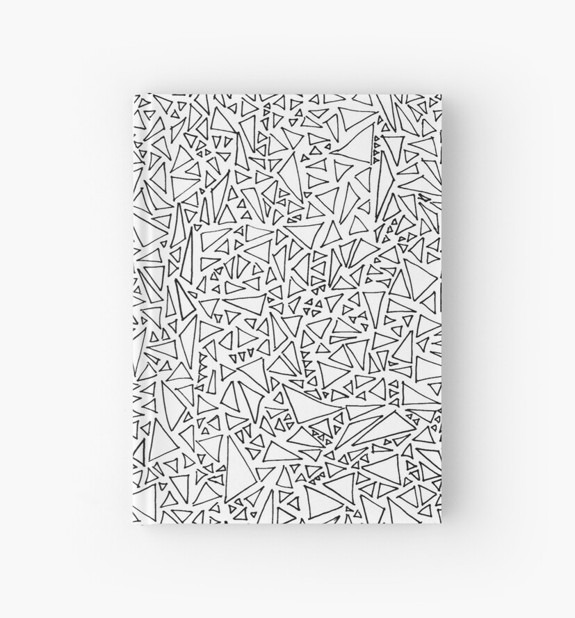black and white triangle doodle duo hardcover journals by orangeolive redbubble. Black Bedroom Furniture Sets. Home Design Ideas