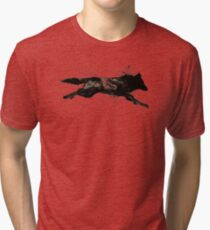 Black Wolf Running Tri-blend T-Shirt