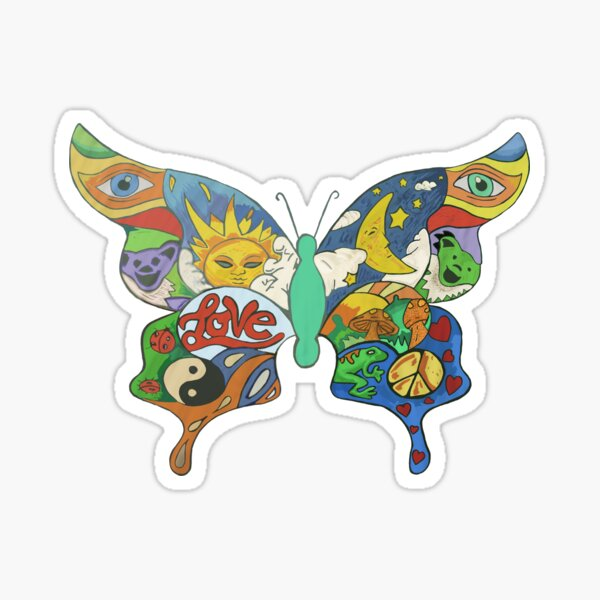 psychedelischer Schmetterling Sticker