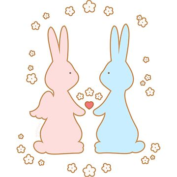 Love Bunnies with Flowers by gigglish