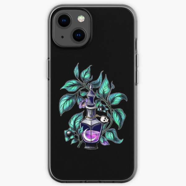 Belladonna. Deadly nightshade. Crescent in potion bottle  iPhone Soft Case