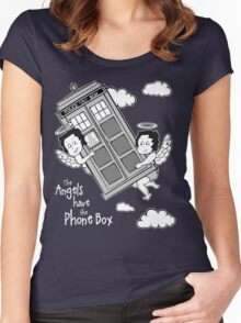 The Angels have the Phone Box - Version 3 BW (for dark tees) Women's Fitted Scoop T-Shirt