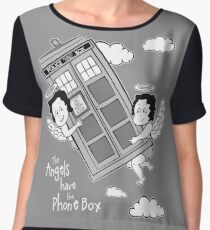 The Angels have the Phone Box - Version 3 BW (for dark tees) Women's Chiffon Top
