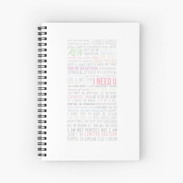 BTS Lyrics Spiral Notebook