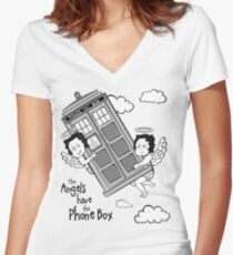 The Angels have the Phone Box - Version 3 BW (for light tees) Women's Fitted V-Neck T-Shirt