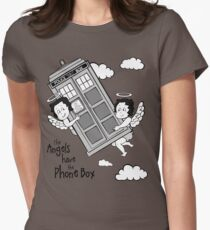 The Angels have the Phone Box - Version 3 BW (for light tees) Womens Fitted T-Shirt