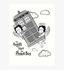The Angels have the Phone Box - Version 3 BW (for light tees) Art Print
