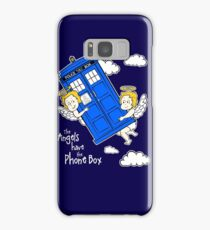 The Angels have the Phone Box - Version 4 (for dark tees / white outlines)  Samsung Galaxy Case/Skin