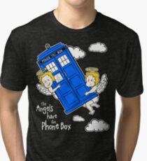 The Angels have the Phone Box - Version 4 (for dark tees / white outlines)  Tri-blend T-Shirt