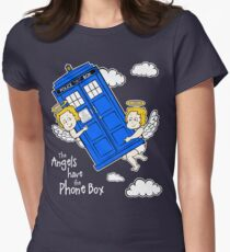 The Angels have the Phone Box - Version 4 (for dark tees / white outlines) Women's Fitted T-Shirt