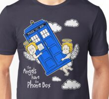 The Angels have the Phone Box - Version 4 (for dark tees / white outlines)  Unisex T-Shirt