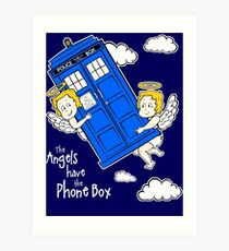 The Angels have the Phone Box - Version 4 (for dark tees / white outlines) Art Print