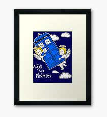 The Angels have the Phone Box - Version 4 (for dark tees / white outlines)  Framed Print