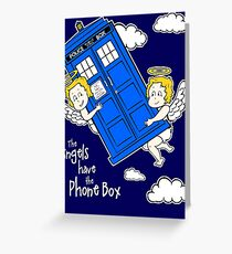 The Angels have the Phone Box - Version 4 (for dark tees / white outlines)  Greeting Card