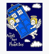 The Angels have the Phone Box - Version 4 (for dark tees / white outlines)  Photographic Print
