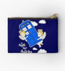 The Angels have the Phone Box - Version 4 (for dark tees / white outlines) Studio Pouch